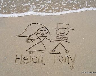 Stick People written in REAL beach sand, personalized photograph, sand writing, .jpeg download U Go PRiNT, wedding bride groom names