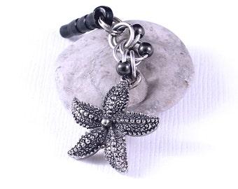 Starfish Dust Plug - Animal Charm, Headphone Jack Charm, Gunmetal Beads, Cell Phone Accessory
