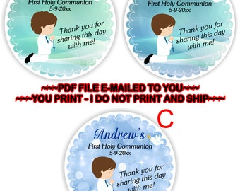 First Holy Communion, Thank you sticker, 1st Holy Communion, Communion Gift Tag, 1st Communion, Thank You Tag, Communion Boy - FIRSTCOMB3