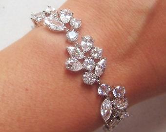 Swarovski Crystal Bracelet, Cubic Zirconia Wedding Bracelet, Silver or Gold Crystal Wedding Bracelet - ADARA