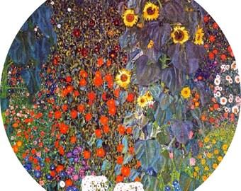 """Lovely Gustav Klimt Farm Daisy Aster Poppy Cornflower Flowers 9""""/23cm design  23cm or 9"""" round placemat table mat server centrepiece"""