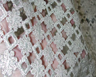 """No. 300 Silver Metallic Guipure Lace Flounce; 8 yards x 9"""" (Sold by Yard)"""