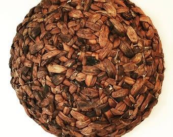 dark brown wall basket - large round woven elephant grass basket - boho wall decor