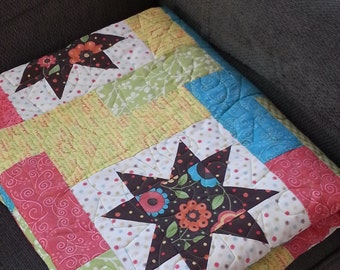 Patchwork Quilted Blanket, Stars Patchwork Quilt, Full Size or Lap Quilt Blanket, Throw Blanket, Patchwork Blanket