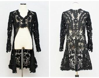 Antique Battenburg Lace Coat- 1910s Edwardian Black Lace Mourning Jacket