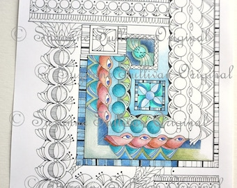 Geometric Coloring Page, Adult Coloring Page, Stress Relief Coloring, #296, Coloring Page, Coloring for Adults, 1 PDF File, Graphic Design