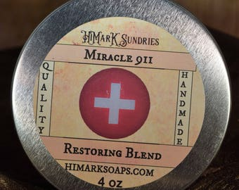 Miracle 911 - Restoring butter balm for damaged skin. 4 and 2 ounce tins, soothing essential oil blend.