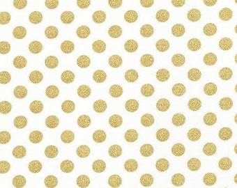 Spot On in Gold Metallic Blanc from Robert Kaufman - 1/2 yard, Half Yard Increments