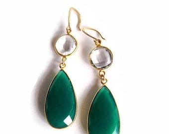 Dangle Earrings, Drop Earrings, Green Onyx Earrings, Gemstone Earrings, Bridal Earrings, Bridesmaid Earrings