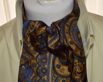 Duggie 1960's Blue and Gold Patterned Cravat