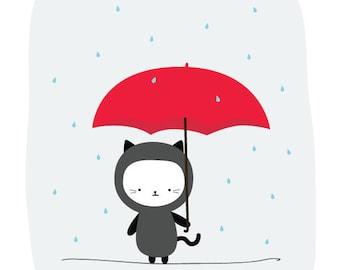 Clearance Sale 50% Off | Raining Kitty Print 8x10