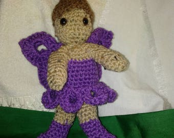 "Crocheted Stuffed Fairy 10"" high with detachable drawstring bag"