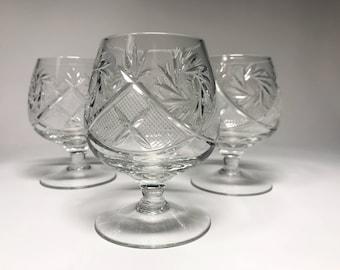 Crystal Glass Set of 6 Cognac Brandy Vodka  Whiskey 5 oz Snifter Glass Hand Cut  Neman Vintage European Design Crystal Glass