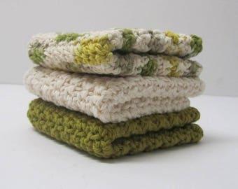 Cotton Washcloths Dishcloths set of 3
