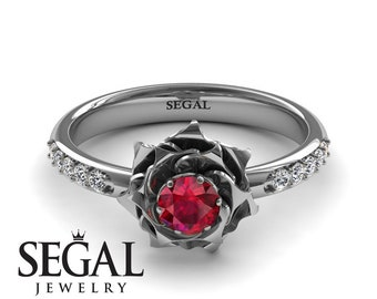 Ruby Engagement Ring White Gold Rose Ring Art Nouveau Unique Ring Flower Engagement Ring White Gold Ruby Engagement Ring - Elena