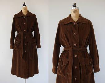 vintage 1940s coat / 40s brown corduroy coat / 40s swing coat / 40s trench coat / 40s belted coat / 40s noir vixen coat / medium large