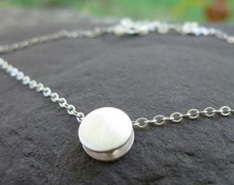 Moondust Slider Reversible Sterling Silver Necklace . both satin and hammered textures . layer necklace . petite necklace . silver necklace