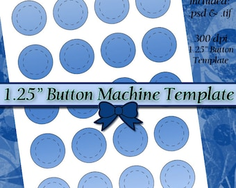 1.25 Inch Button Machine TEMPLATE DIY DIGITAL Collage Sheet 8.5x11 Page with Video Tutorial Instructions (Instant Download)