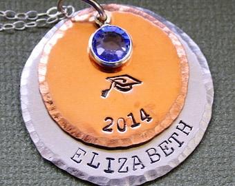 Graduation Necklace - Commencement Gift - Swarovski Birthstone - Hand Stamped Pendant