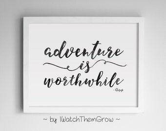 "Printable ""Adventure Is Worthwhile"" Travel Quote Wall Art, Black Watercolor Adventure Travel Nursery 8x10 & 11x14 JPG INSTANT DOWNLOAD"