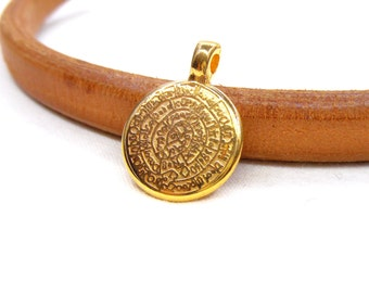 Gold Plated Phaistos Disc Pendant, Phaistos Disc Charm, Ancient Minoan Cretan Festos Disc, Greek Design, Double Sided Pendant, 16mm - 1 pc