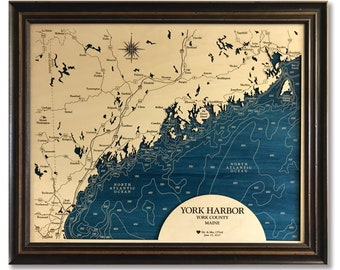 York Harbor Maine Coastline Dimensional Wood Carved Depth Contour Map - Customize With Your Home Information