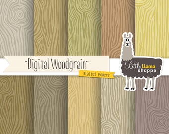 Faux Bois Wood Grain Scrapbook Paper, Wood Grain Digital Backgrounds, 8.5x11 and 12x12, Commercial Use, Instant Download