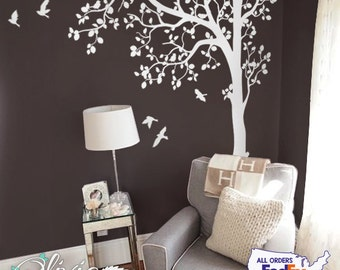 White Tree Wall Decal White Tree Decal for Nursery Nature Tree Wall Decals White Tree Decal Tree Decal Birds & Tree Decal Wall Decal  -NT023