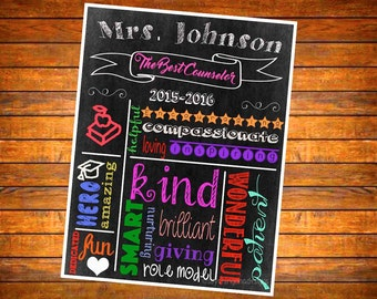 Best Counselor Chalkboard Personalized Sign