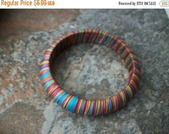 ON SALE Vintage Colorful Silk String Wrapped Bangle 1536
