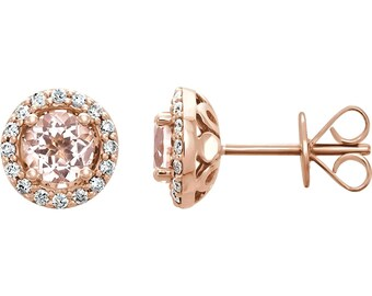 Natural Morganite and Diamond Halo Stud Earrings, 1.08 cttw, 14K Rose Gold, Morganite Earrings, Diamond Earrings, Diamond Halo, Gift for Her