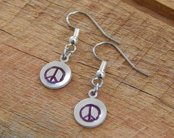 Hand-stamped Peace sign earrings