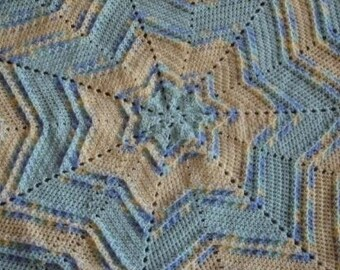 Textured Star Baby Afghan Crochet Pattern PDF 017