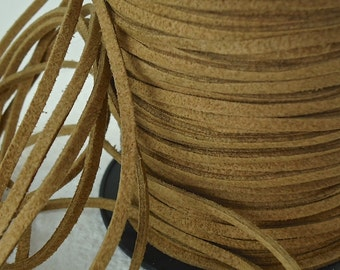 6yds Faux Suede leather Micro Fiber  Jewelry Cord Faux leather Natural Brown Lace 3mm x 1.5mm String Material