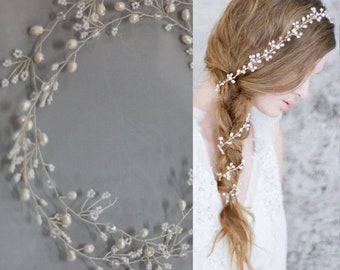 1M- Silver Beaded Wire, Wedding Pearl Tiara Vine Flower Wire Supply, Wedding Sash DIY, Bridal Tiara Jewelry Making,Headpiece Crystal Vine
