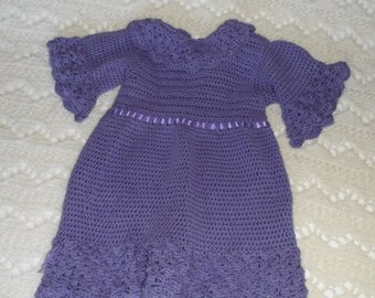Crocheted Dress for Toddlers in Lavender Cotton Acrylic Blend Yarn with Lace Trim