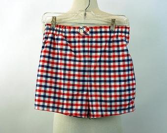 1970s mens bathing suit swimsuit trunks Jantzen checked red white blue shorts Size 32