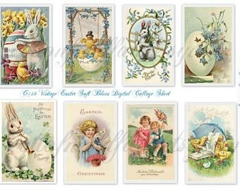 Vintage Easter Soft Blues Digital Collage Sheet C-159 for Scrapbooking, Tags, Handmade Cards, Tag Books, Journaling, ATC, Altered Art