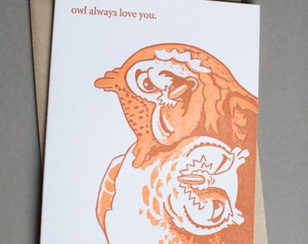 Owl, single letterpress card