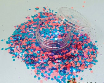 Cotton Candy Fizz Nail Glitter Mix- Solvent resistant