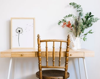 Watercolor Print Dandelion, wall art, Frame NOT included, Watercolor print Illustrated by Fran Rodrigues.