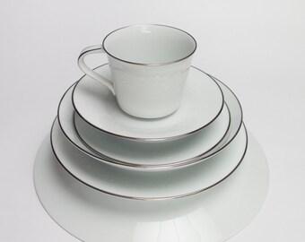 Noritake Dining Set   home living kitchen and dining set  fine china white on white