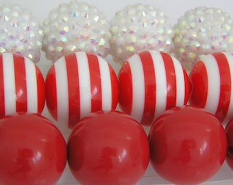 Valentines Chunky Bead Kit, 17 Bead Set, 20mm, Red and White Bead Kit| DIY Chunky Necklace Bead Kit, Winter Bead Collection