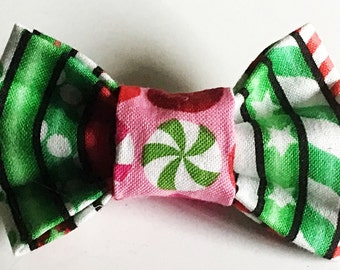 Green & Red Candy Cane Bow Tie for Male Dogs and Cats