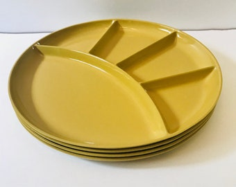 Set of 4 Japanese Five Compartment Melamine Fondue / Sushi Plates in Yellow