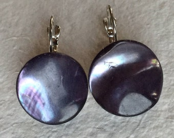 Vintage Purple Mother of Pearl Button 18mm Earrings