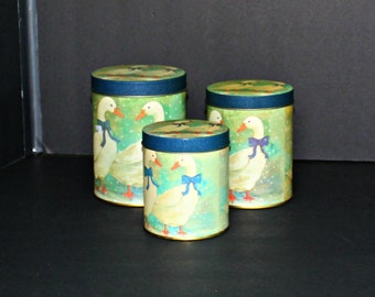 3 Blue Goose Tin Canisters,Blue Goose Round Canisters,Blue Goose Tin Set,Blue Goose Tins,Blue Goose Canisters Tins,Blue Goose Canisters Set