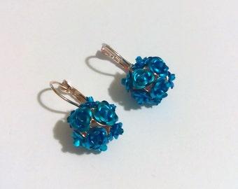 Vintage earrings Blue roses dangle earrings Vintage jewelry Daughter gift Girlfriend gift Flower earrings Roses earrings Prom summer jewelry