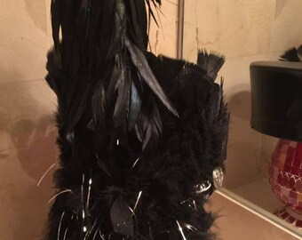 Black Feather Raver Hat