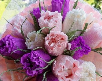 Flowers Candy bouquet,Gift Candy bouquet for woman-Paper flower ,raffaello